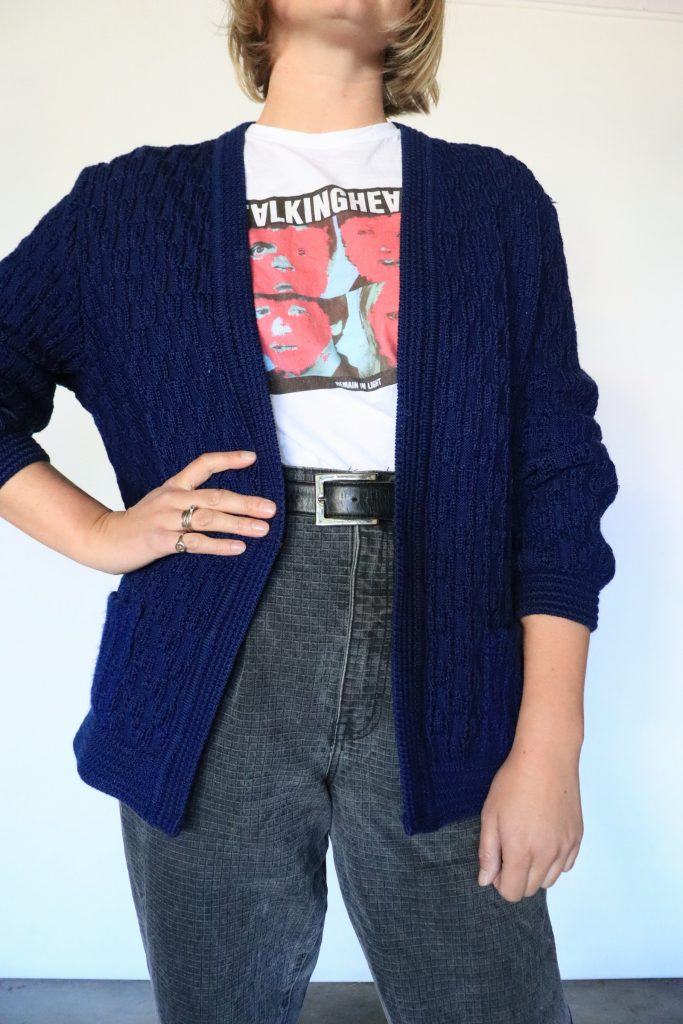 80s navy knitted cardigan