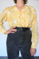 80s yellow floral blouse