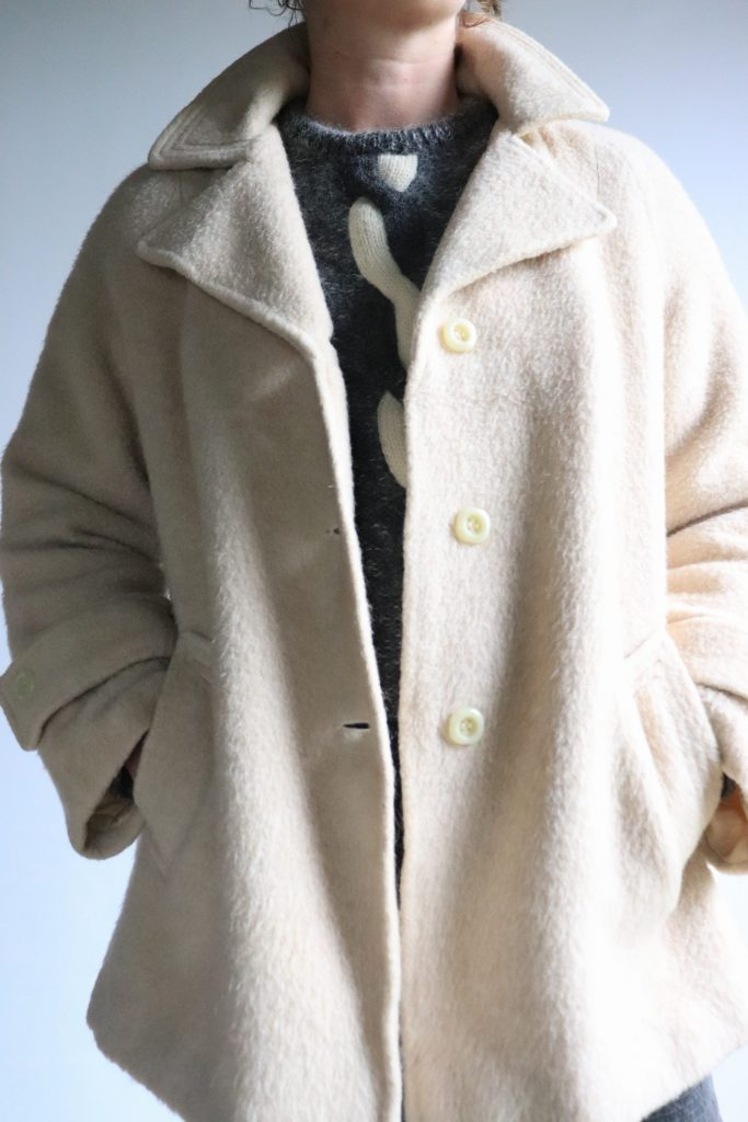 70s cream wool coat