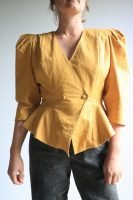 80s mustard blouse with puffed sleeves