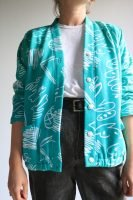 80s teal and white light casual jacket