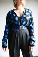 80s black and blue spotty blouse