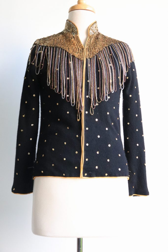 RESERVED: 80s black wool jacket with gold sequins