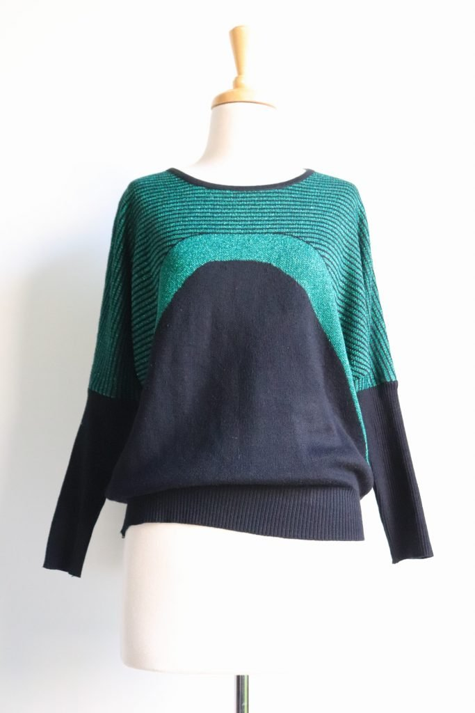 80s black and green lurex knitted jumper