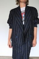 80s rodney clark blue and grey patterned skirt suit