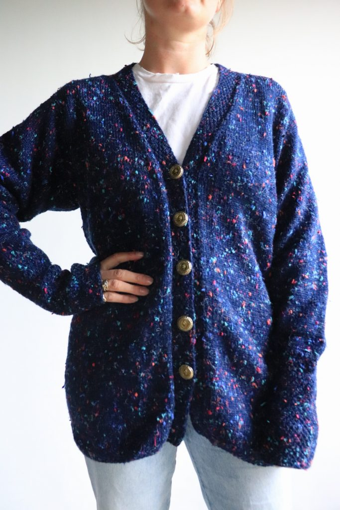 Navy hand knitted cardigan