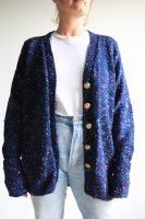 speckled navy hand knitted cardigan