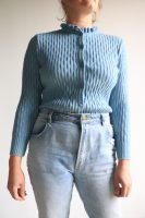 70s pastel blue knitted cardigan with frill neck