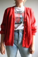 80s hand knitted red cardigan