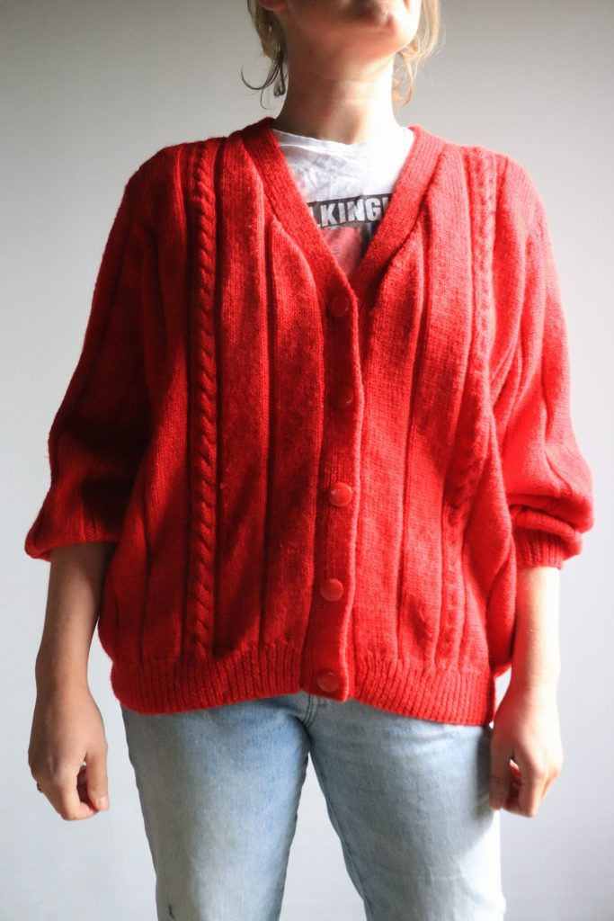 Hand knitted red cardigan