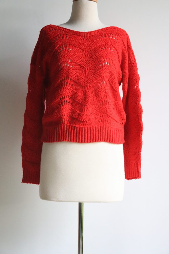 Red hand knitted jumper