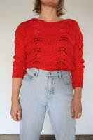 80s hand knitted red jumper