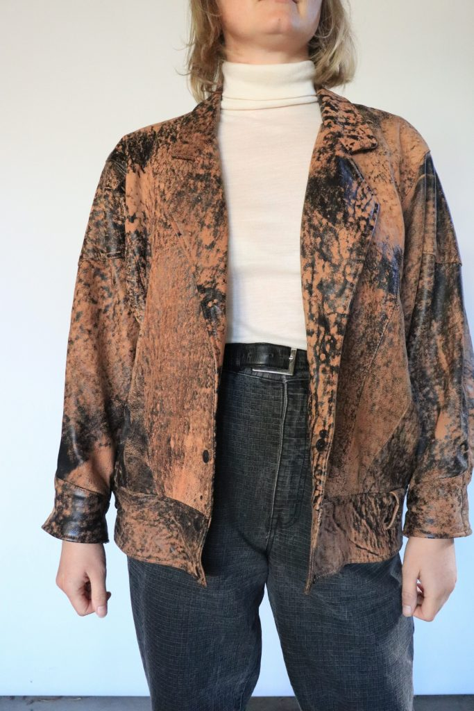 80s brown and black leather jacket