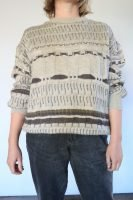 80s beige and brown knitted wool jumper