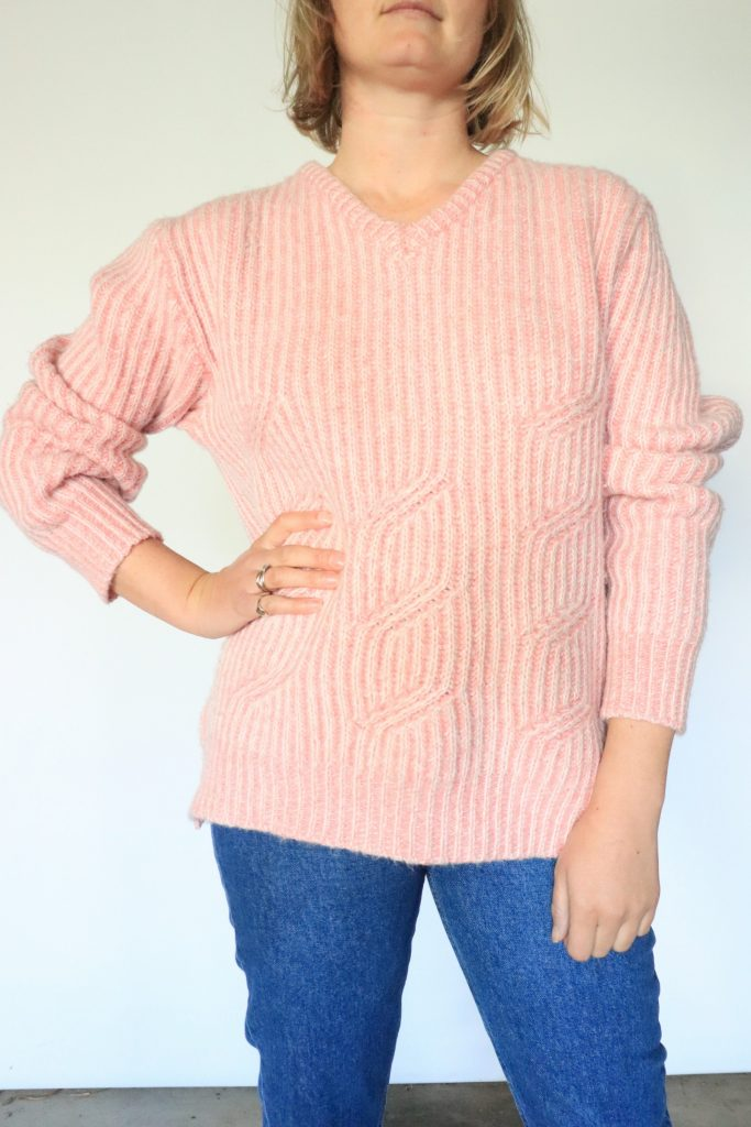 Pink wool knitted jumper