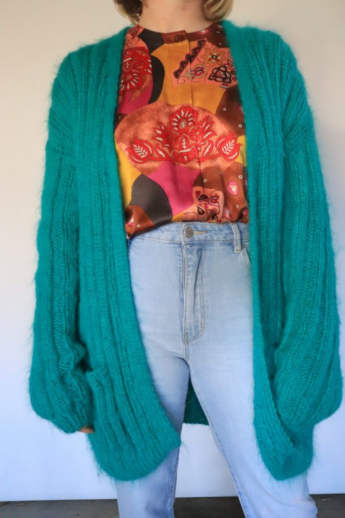 Teal mohair hand knitted cardigan