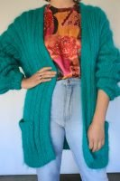 80s long hand knitted cardigan