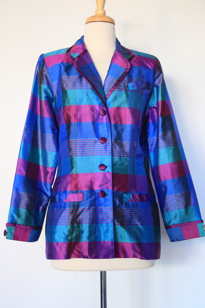 80s blue, teal and purple check blazer