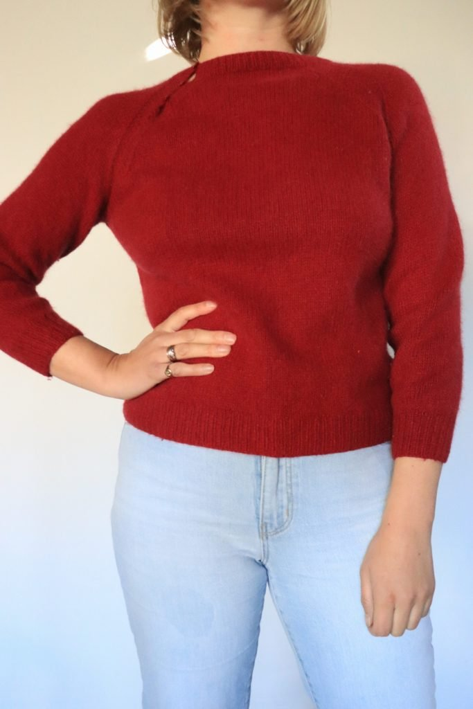 Maroon hand knitted jumper