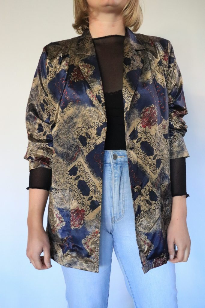 90s navy and beige patterned blazer