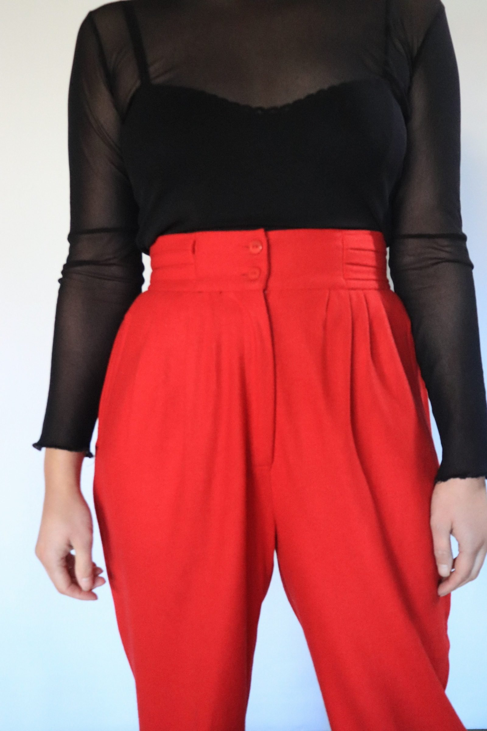 90s red wool high waisted pants