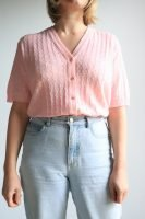 80s pastel pink knitted short sleeved top