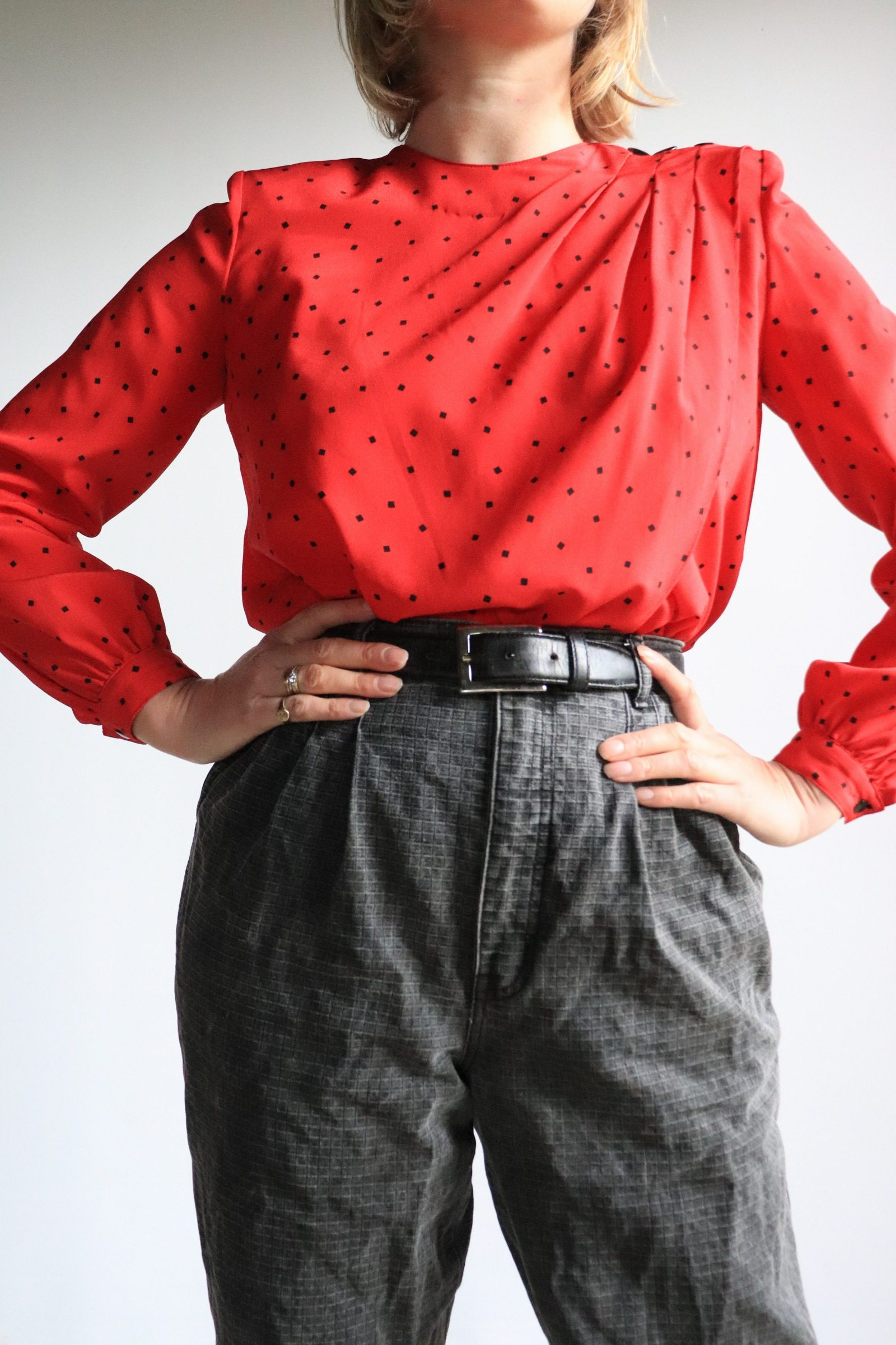 80s red blouse with polka dots