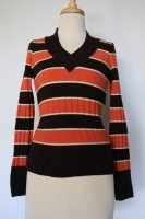 90s brown and orange striped knitted top