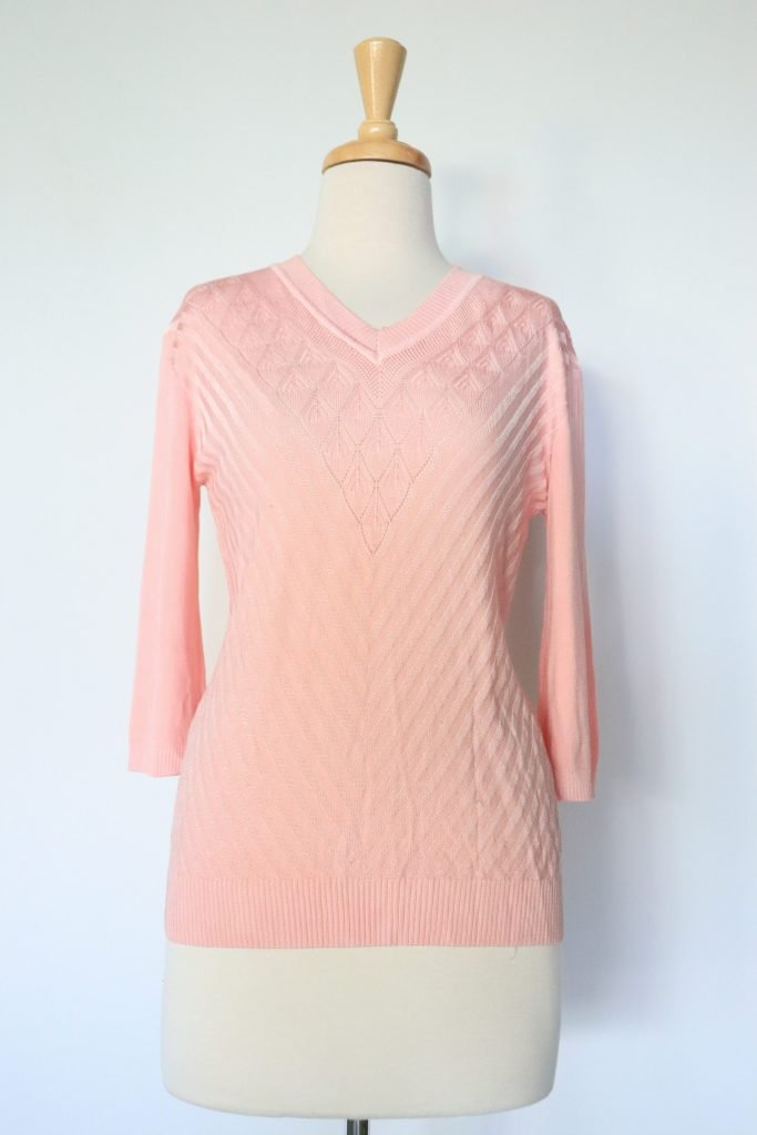 80s pastel pink knitted top