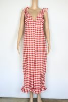 red and white gingham jumpsuit